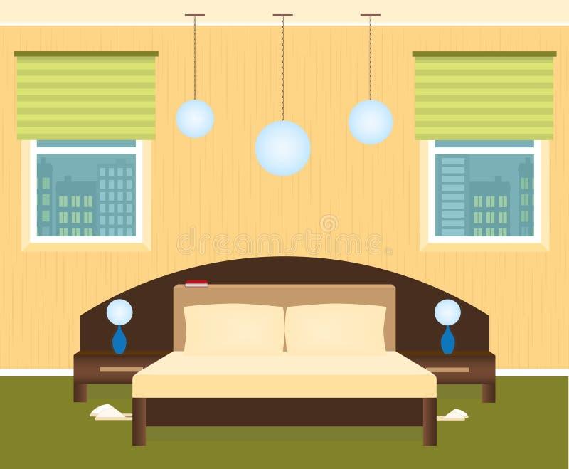 Slaapkamerbinnenland met een meubilair en cityscape buiten de vensters royalty-vrije illustratie