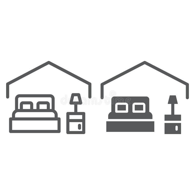 Slaapkamerlijn en glyph pictogram, hotel en slaap, bedteken, vectorafbeeldingen, een lineair patroon op een witte achtergrond vector illustratie