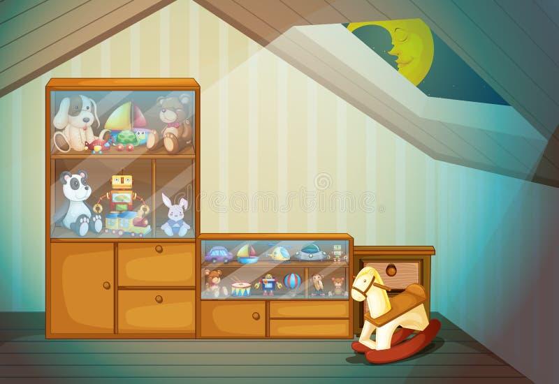 Slaapkamerscène met speelgoed royalty-vrije illustratie