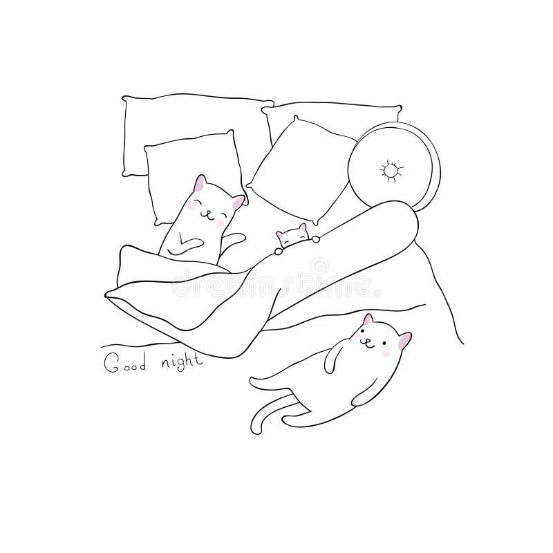 Slaapkatten in bed stock illustratie