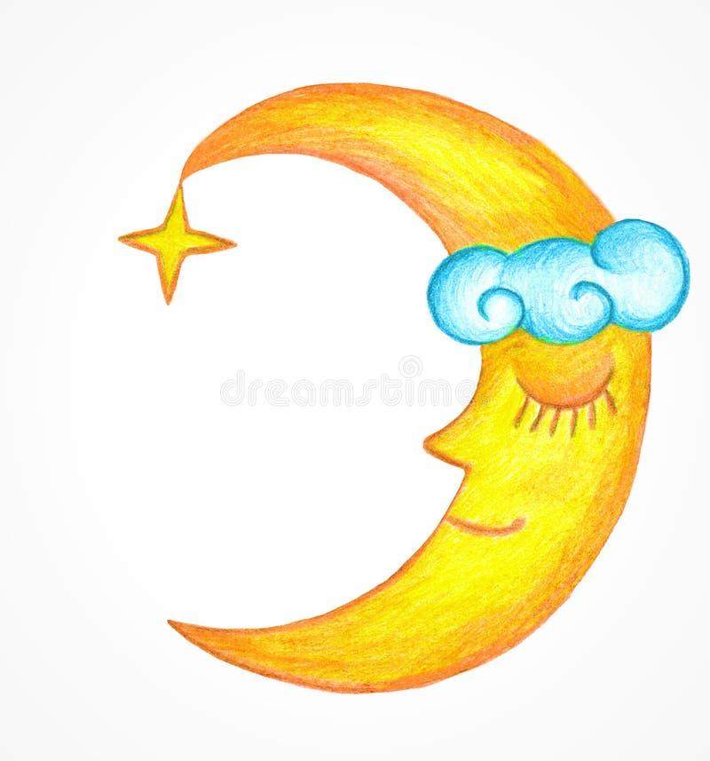 Slaapmaan met een ster en een wolk Het embleem van de maan stock illustratie