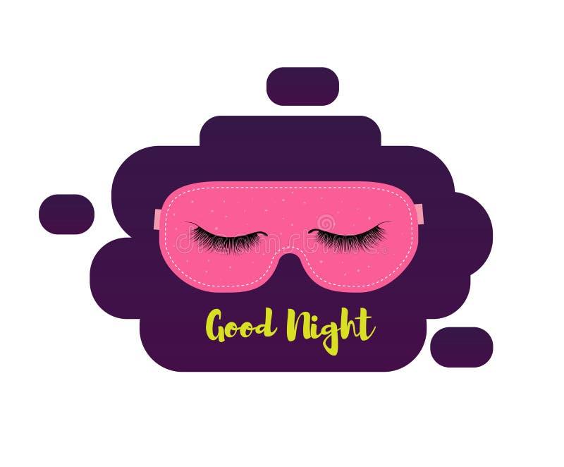slaapmasker met wimpers Slaap en nigt toebehoren Goede nacht vector illustratie