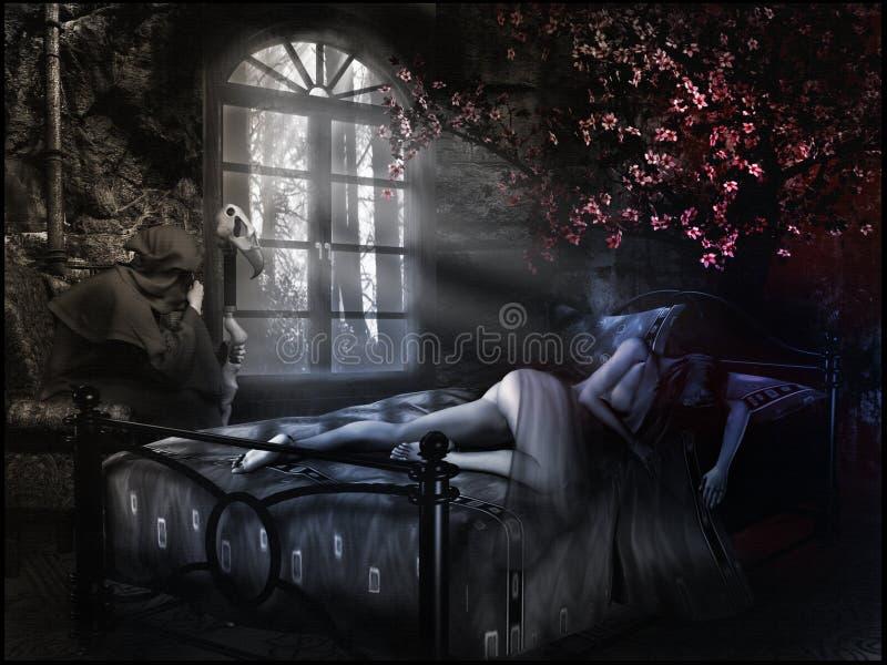 Slaapmeisje en tovenaar stock illustratie