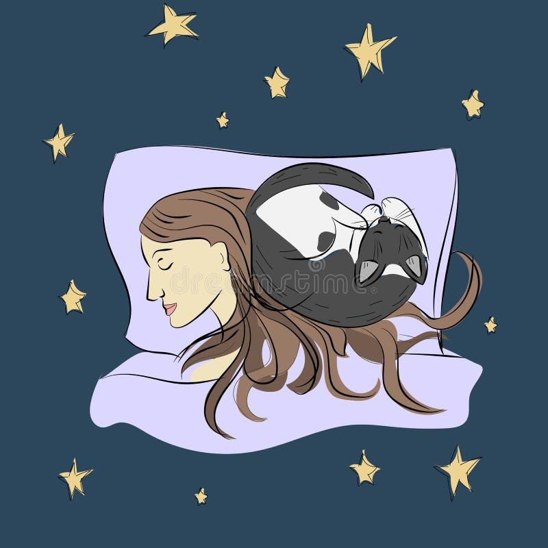 Slaapmeisje met kat schets Vector royalty-vrije illustratie