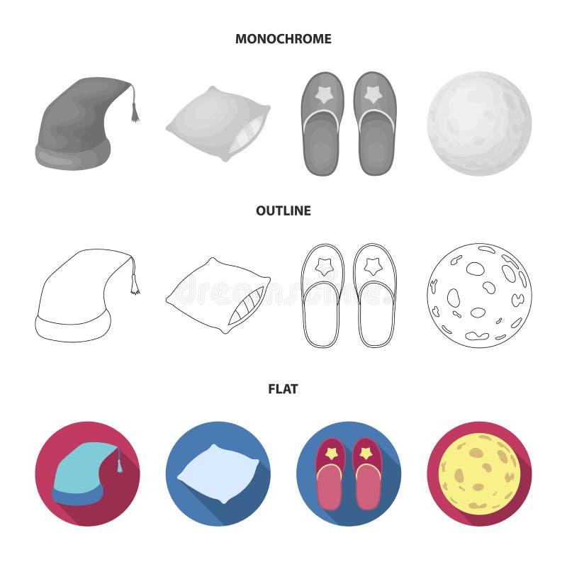 Slaapmutsje, hoofdkussen, pantoffels, maan Rust en slaap vastgestelde inzamelingspictogrammen in vlakte, overzicht, zwart-wit sti vector illustratie