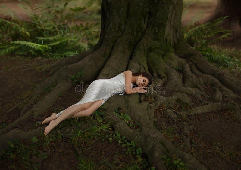 Slaapschoonheid met lang haar in een witte, uitstekende, nachtjapon Het meisje ligt op de reusachtige wortels van een oude boom royalty-vrije stock foto's