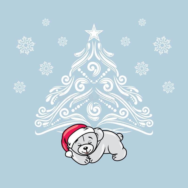 Slaapteddybeer dichtbij de Kerstboom De kaart van de groet stock illustratie