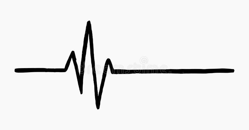 Slaat de hand getrokken vectorillustratie van de muziekgolf/het hart geïsoleerd op witte achtergrond royalty-vrije illustratie
