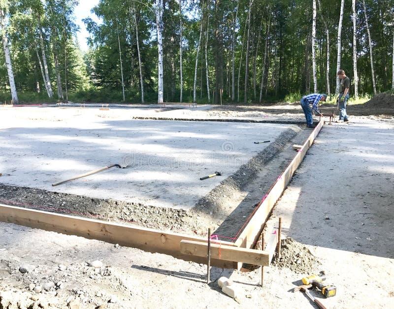 Slab on grade foundation preparation. Footer detail for slab on grade foundation royalty free stock photography