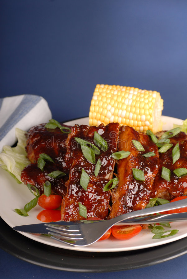 Slab of ribs with corn royalty free stock photography