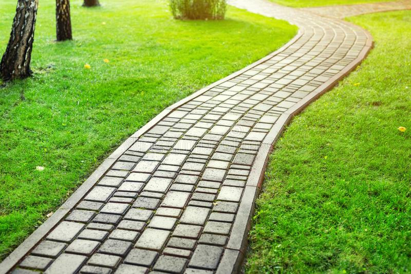 Slab stone paved path way along green grass lawn at park or backyard. Walkway footpath road at house yard garden stock images
