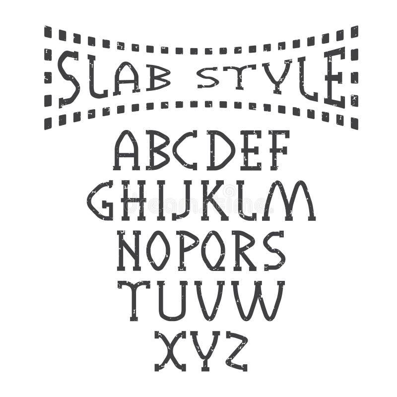 Slab style alphabet. Grunge slab style alphabet art royalty free illustration