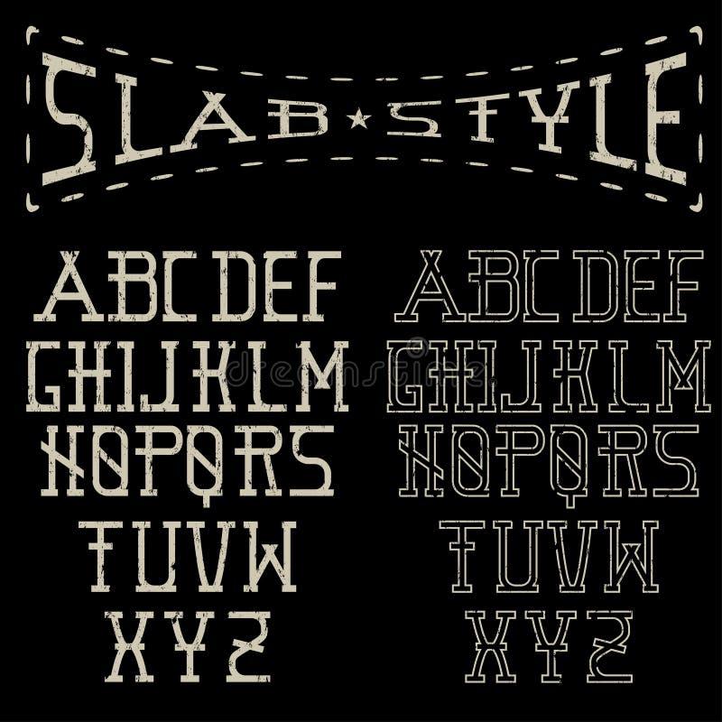 Slab style alphabet. Grunge slab style alphabet art stock illustration