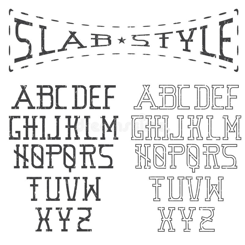 Slab style alphabet. Grunge slab style alphabet art vector illustration