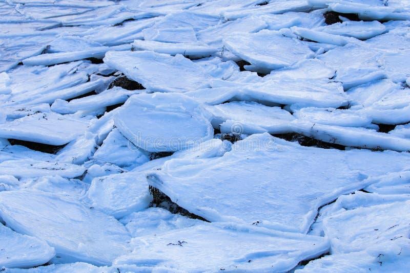 slabs of frozen ice broken stock photo