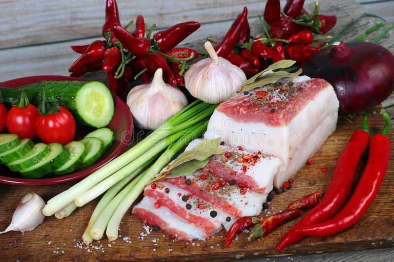 Slabs of salo, or salted pork fatback with spices. Traditional S stock photos