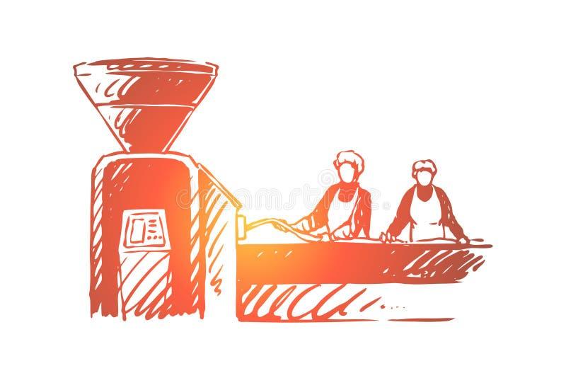Slachterij, fabrieksarbeiders die, mensen vlees, transportbandlijn, industri?le machines, voedsel productie verwerken stock illustratie