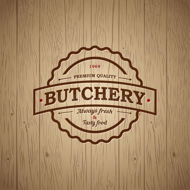 Slachterij uitstekend embleem Vers vleesmarkt In reliëf gemaakt embleem op uitstekende houten achtergrond stock illustratie