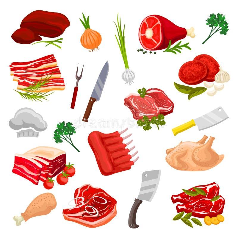Slachterijvlees, de vectorpictogrammen van slagerijproducten stock illustratie