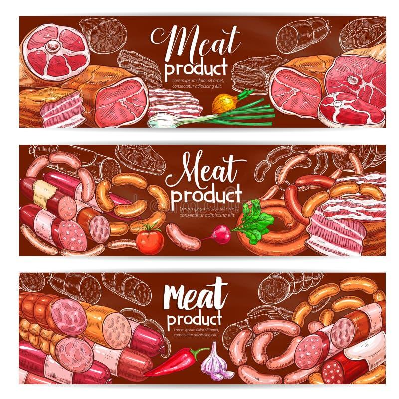 Slachterijvlees en de vectorbanners van worstenproducten stock illustratie