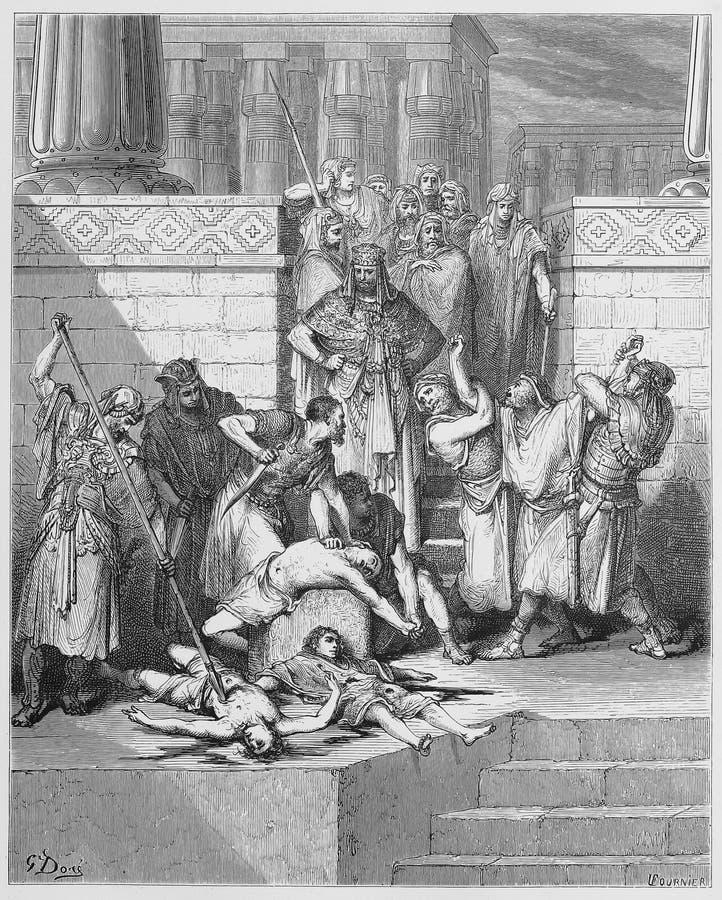 Slachting van de zonen van Zedekiah royalty-vrije illustratie