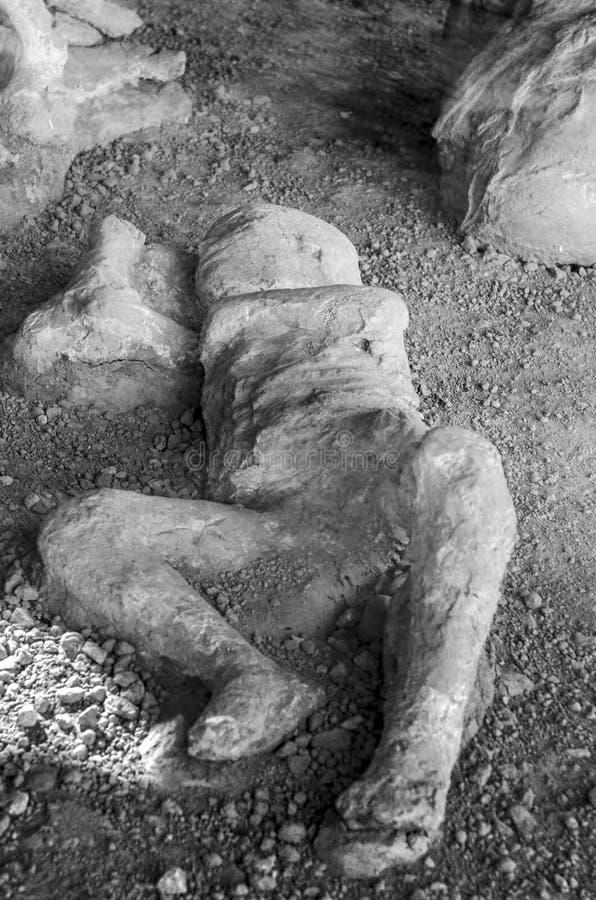 Slachtoffer in Pompei van de uitbarsting van de Vesuvius royalty-vrije stock afbeelding