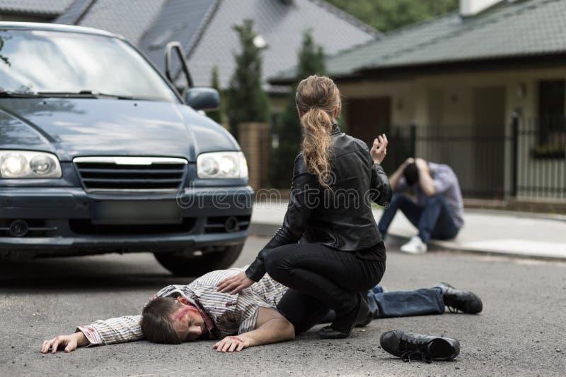 Slachtoffer van autoongeval stock foto