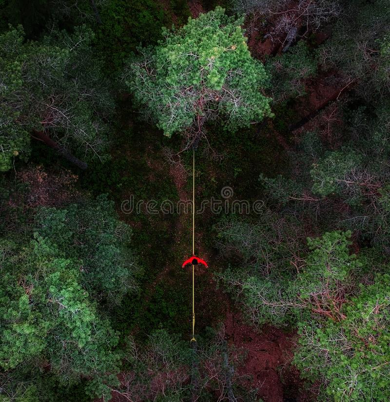 Slackline from a birds perspective royalty free stock image