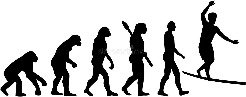 Slackline ewolucja royalty ilustracja