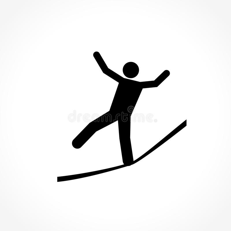 Slackline icon. Illustration of slackline icon on white background stock illustration