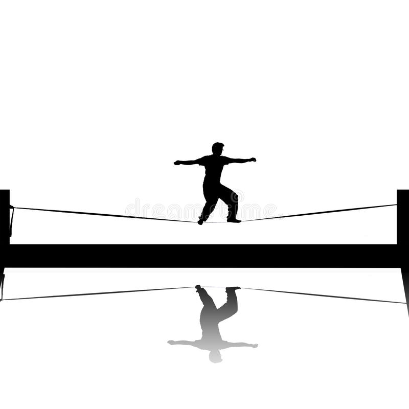 Slackline silhouette. Illustration of silhouette of man on slackline royalty free stock photography