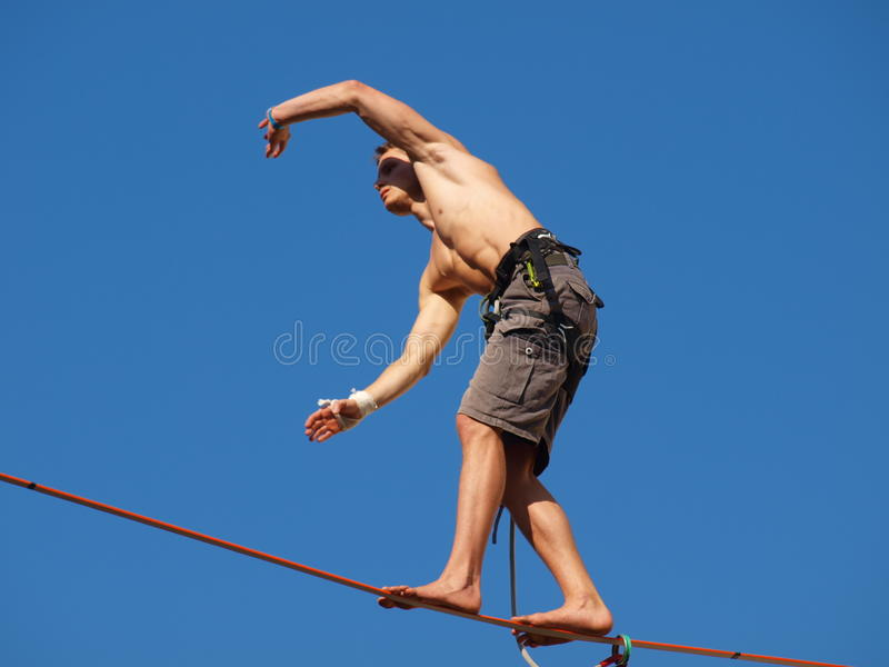 Slackliner, Lublin, Poland stock photo