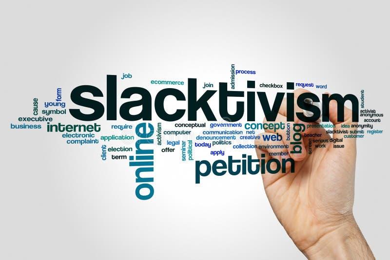 Slacktivism word cloud concept royalty free stock images