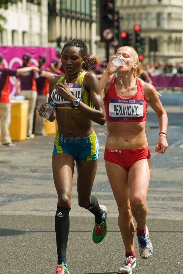 Sladana Perunovic + Lucia Kimani- Olympic Marathon Editorial Stock Photo