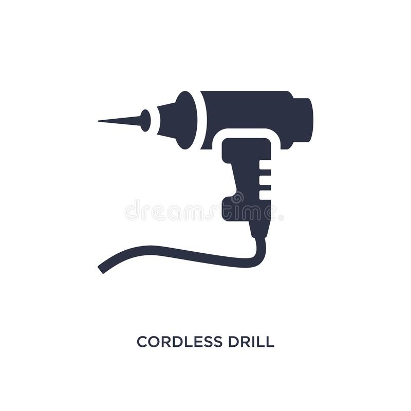 sladdlös drillborrsymbol på vit bakgrund Enkel beståndsdelillustration från konstruktionsbegrepp stock illustrationer