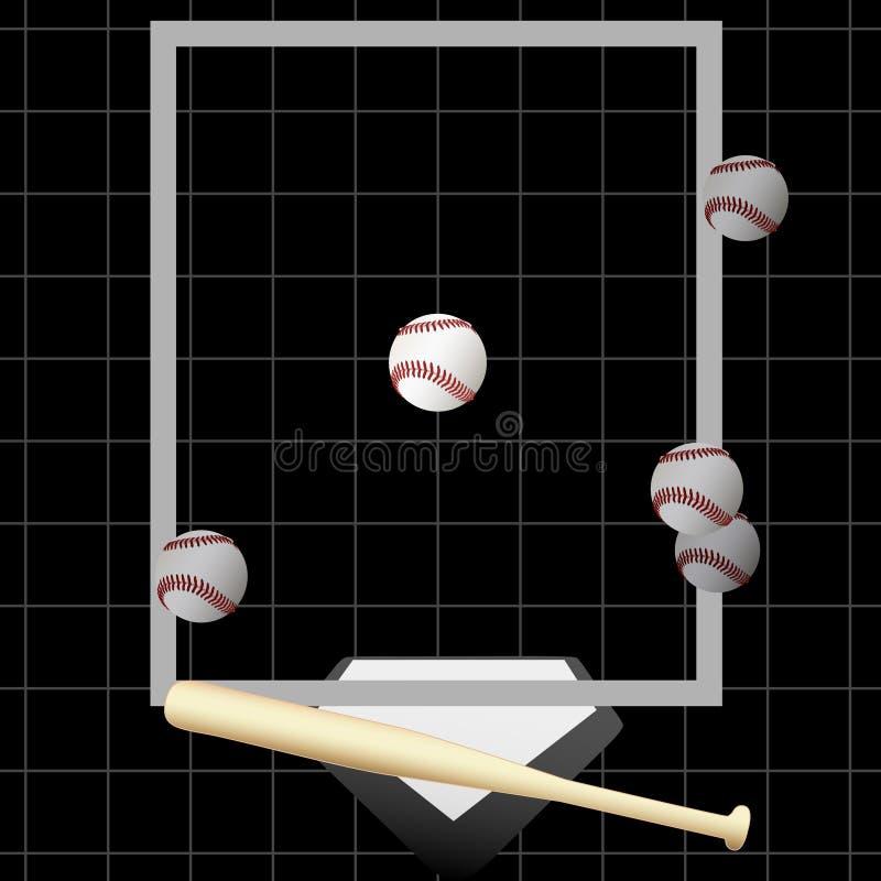 slag för breddsteg för utgångspunkt för bollbaseballslagträ stock illustrationer