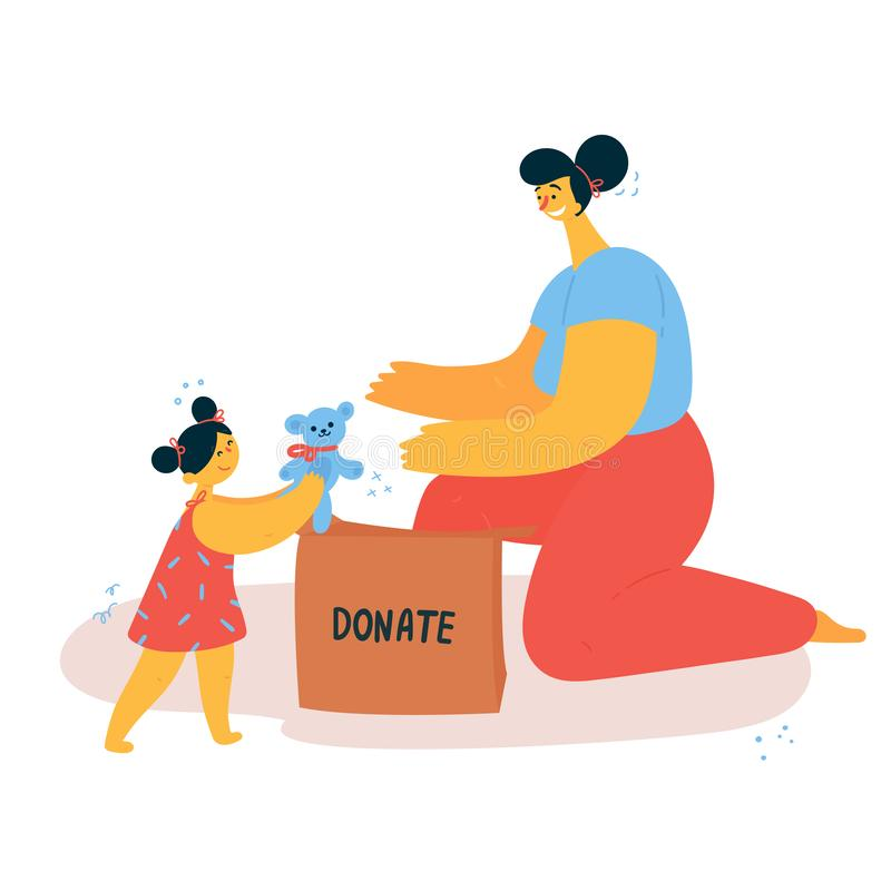 Slag för ung kvinna och barnoch att donera saker stock illustrationer