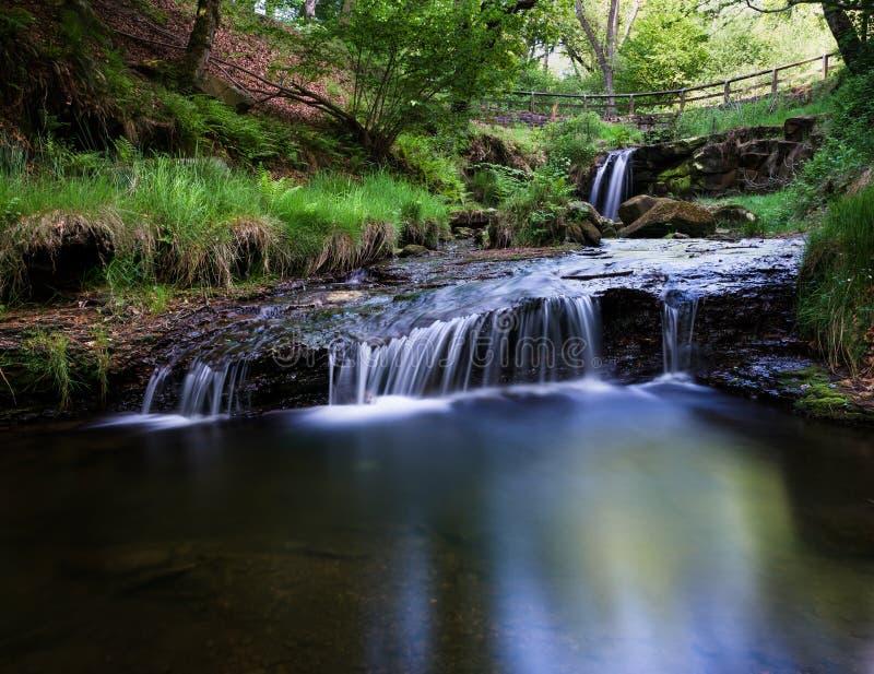 Slag Gill Waterfall - Hawnby hedvattenfall royaltyfria bilder