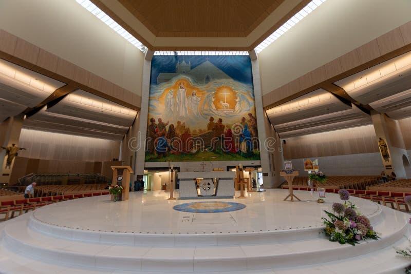 Slag, Mayo, Ierland Ierland ` s Nationaal die Marian Shrine in Co Mayo, door meer dan 1 wordt bezocht 5 miljoen mensen elk jaar S royalty-vrije stock fotografie