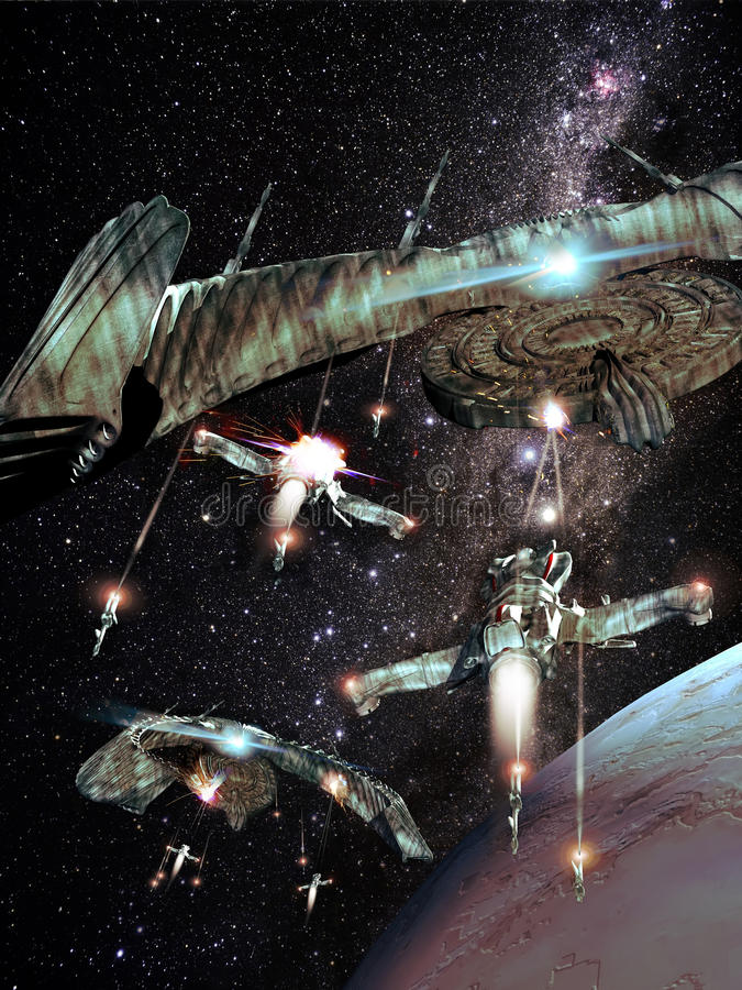 Slag in ruimte royalty-vrije illustratie