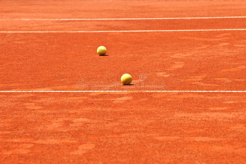 Tennis Court And Balls Royalty Free Stock Photo