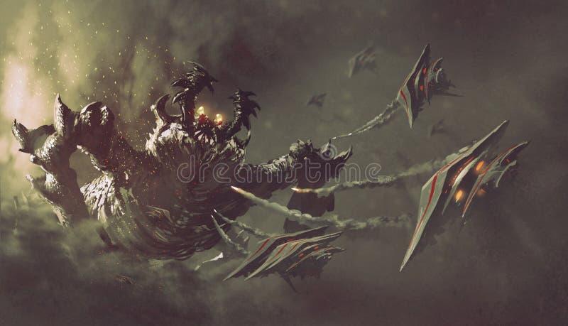 Slag tussen spaceships en monster stock illustratie