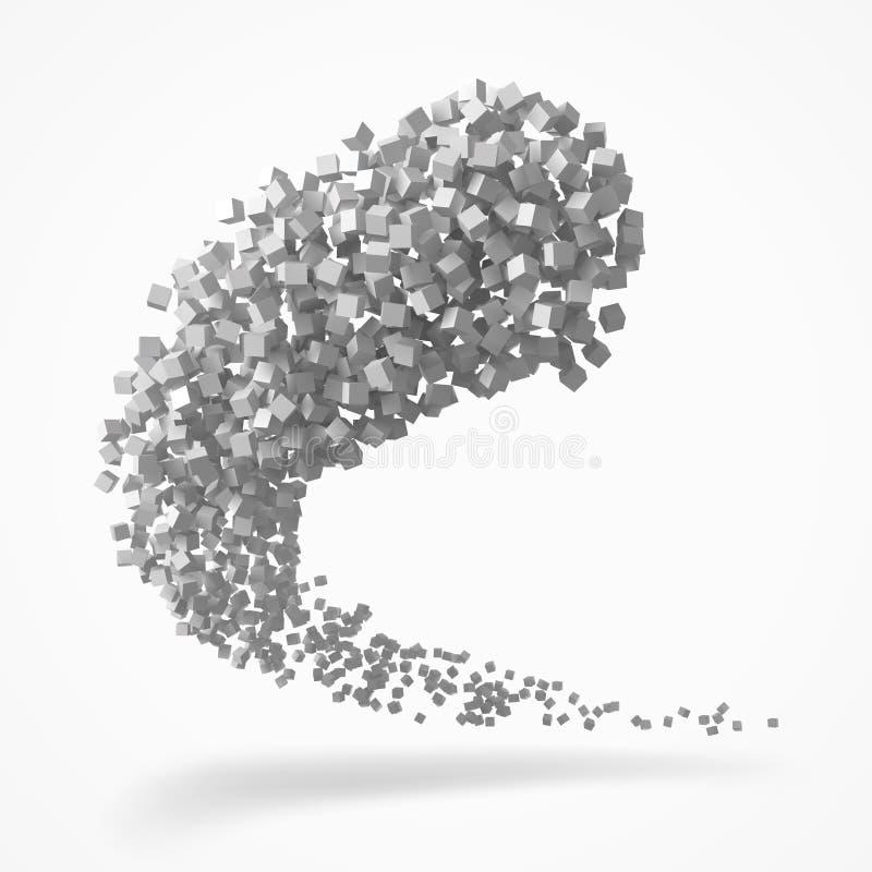 Slag van kubussen die zich op lucht bewegen 3d stijl vectorillustratie vector illustratie