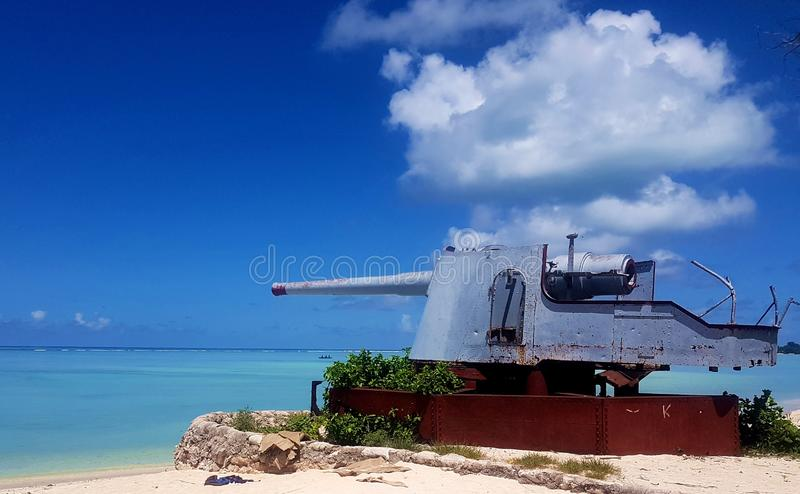 Slag van Tarawa-Oorlogsoverblijfsel stock foto's