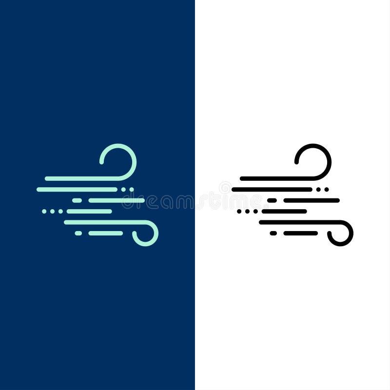 Slag, Weer, Wind, de Lentepictogrammen Vlak en Lijn vulde Pictogram Vastgestelde Vector Blauwe Achtergrond royalty-vrije illustratie
