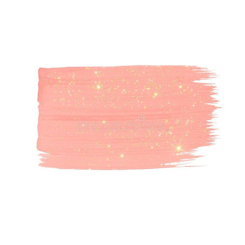 Slagen van de pastelkleur schitteren de roze borstel met gouden royalty-vrije stock foto's
