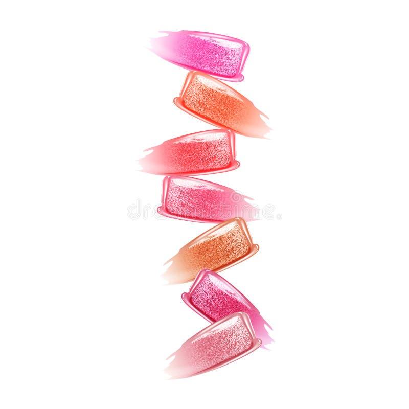 Slagen van lippenstiften diverse kleuren stock fotografie
