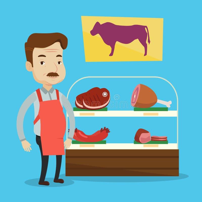 Slager die vers vlees in butchershop aanbieden royalty-vrije illustratie