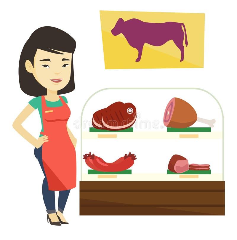 Slager die vers vlees in butchershop aanbieden stock illustratie