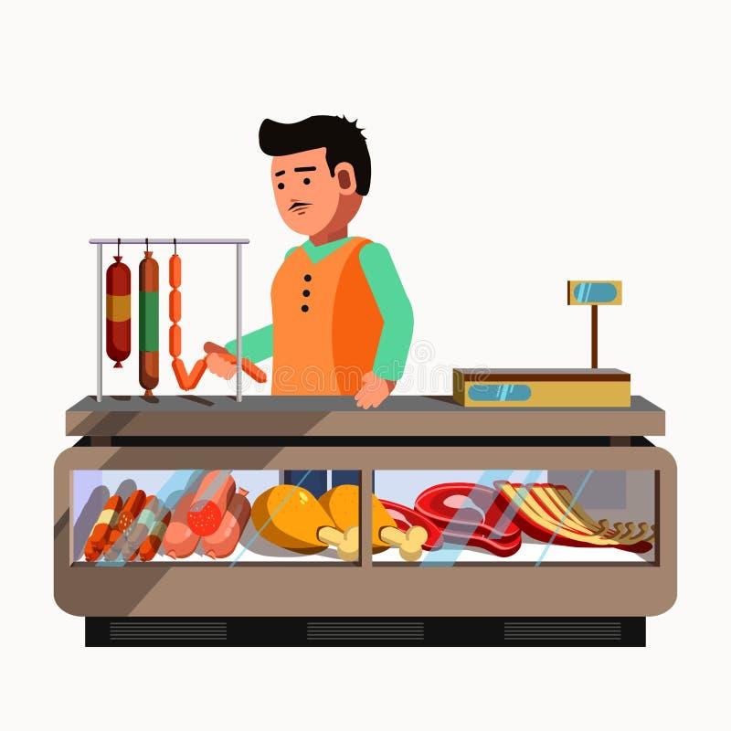 Slager Shop De verkoper van het vleesproduct bij de teller en boxmarkt vector illustratie